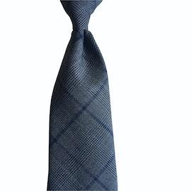 Glencheck Light Wool Tie - Untipped - Dark Grey/Navy Blue