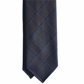 Glencheck Light Wool Tie - Untipped - Brown/Lilac