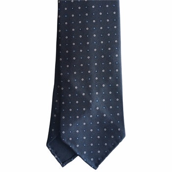 Floral Printed Silk Tie - Untipped -  Dark Grey/Light Blue/White