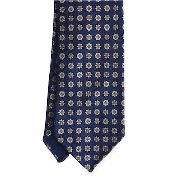 Floral Printed Silk Tie - Untipped -  Navy Blue/Yellow/Orange