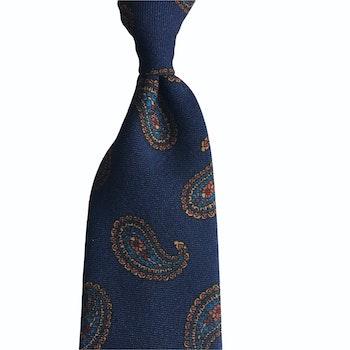 Paisley Printed Wool Tie - Untipped -  Navy Blue/Orange