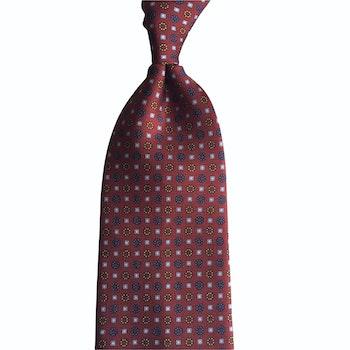 Small Floral Printed Silk Tie - Untipped -  Burgundy/Red/Light Blue/Orange