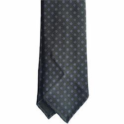 Small Floral Printed Silk Tie - Untipped -  Dark Green/Light Blue/Orange