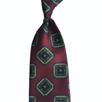 Medallion Printed Silk Tie - Untipped -  Dark Green/Light Blue/Orange