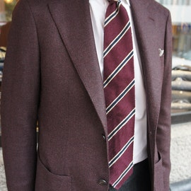 Solid Wool/Cashmere Jacket - Unconstructed - Burgundy
