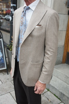Solid Herringbone Wool/Cashmere Jacket - Unconstructed - Sand