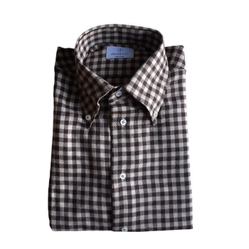 Check Flannel Shirt - Button Down - Brown/Beige