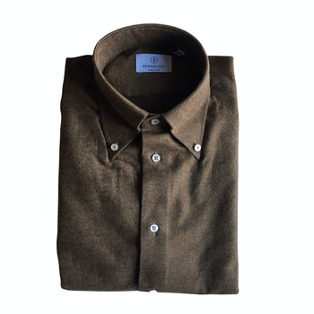Solid Twill Flannel Shirt - Button Down - Brown