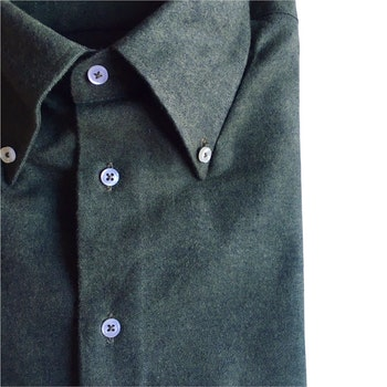 Solid Twill Flannel Shirt - Button Down - Dark Green