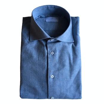 Solid Twill Flannel Shirt - Cutaway - Light Blue
