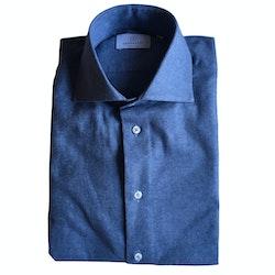 Solid Twill Flannel Shirt - Cutaway - Navy Blue