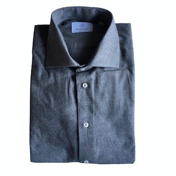 Solid Twill Flannel Shirt - Cutaway - Light Grey