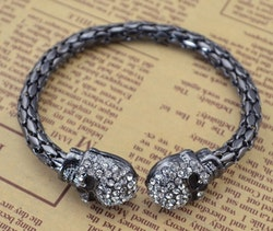 Döskalle armband, Crystal Black
