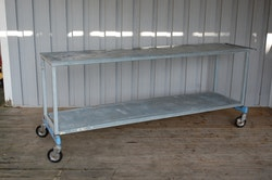 Rullvagn / arbetsbord i galvaniserad stål - 200 x 50 cm