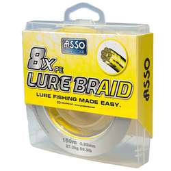 ASSO 8xPE Lure Braid ST Spool 150m Yellow