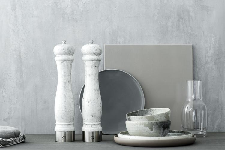 GENSE Java marmor kryddkvarn, salt/peppar - Vit, 30 cm