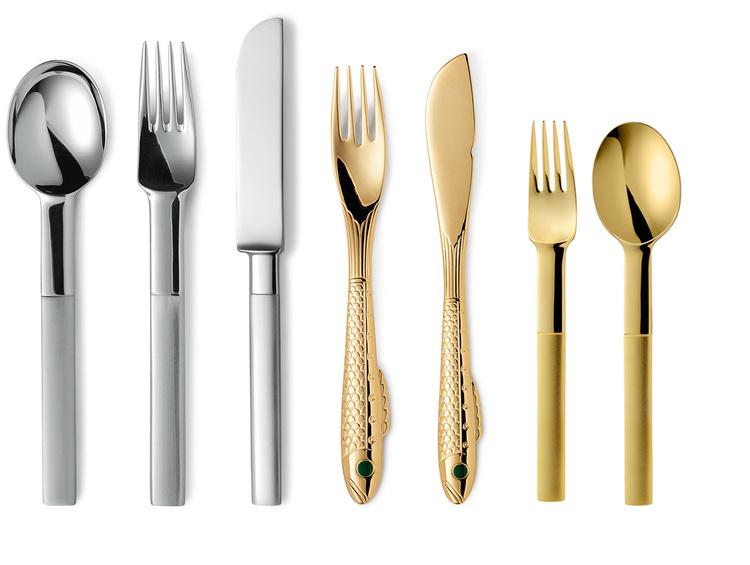 GENSE - Nobel Guld & Silver för- & efterrättsgaffel - Guld