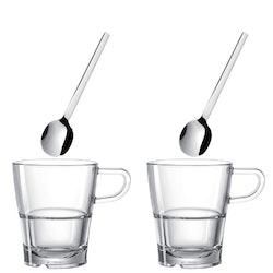 LEONARDO 2 pack kaffekoppar Senso + skedar