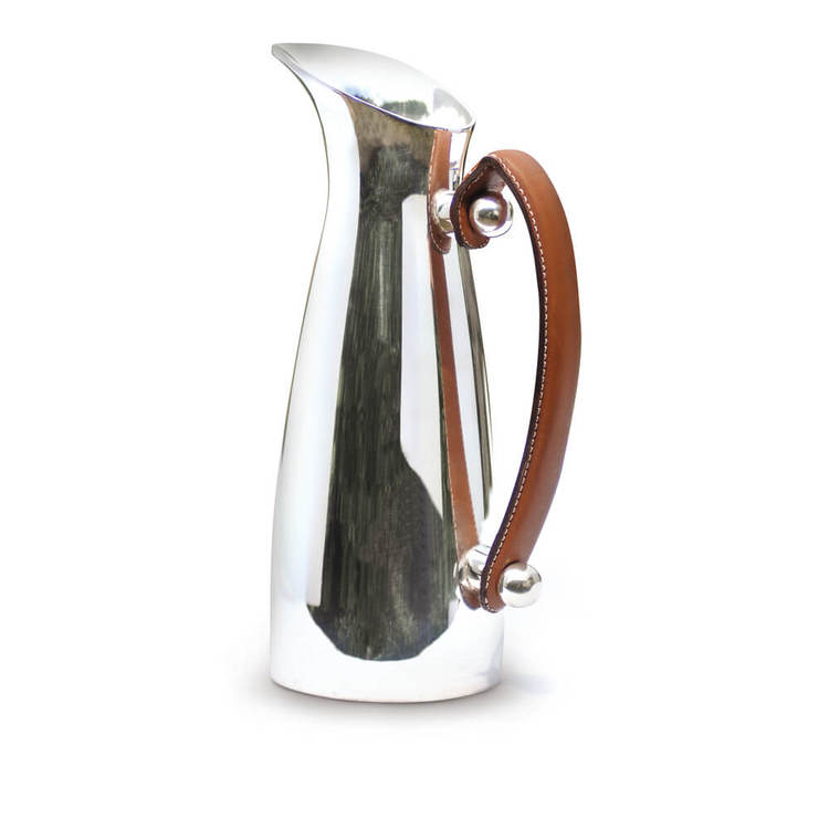 CULINARY CONCEPTS - Leather handled pitcher Karaff - Silver