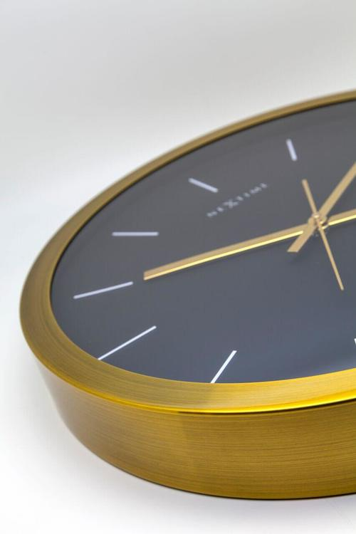 NEXTIME - Stripe Väggklocka - Guld/Svart, 44 cm