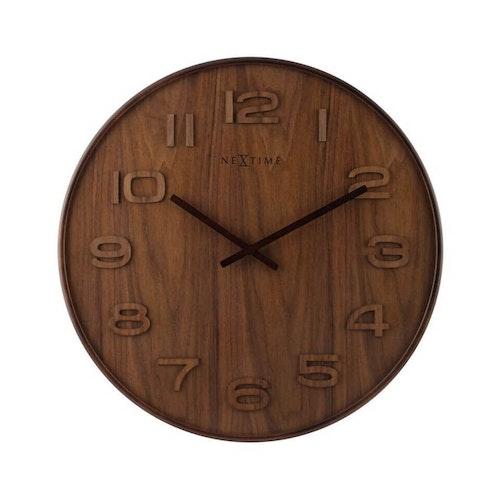 NEXTIME - Wood Wood Medium Väggklocka - Brun/Grå/Vit, 35 cm