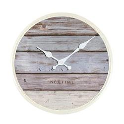 NEXTIME - Plank Väggklocka - Grå/Vit, 30 cm