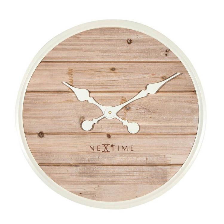NEXTIME - Plank Väggklocka - Grå/Vit, 50 cm