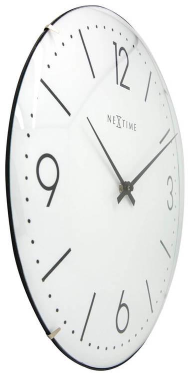 NEXTIME - Basic Dome Väggklocka - Vit/Svart, 35 cm