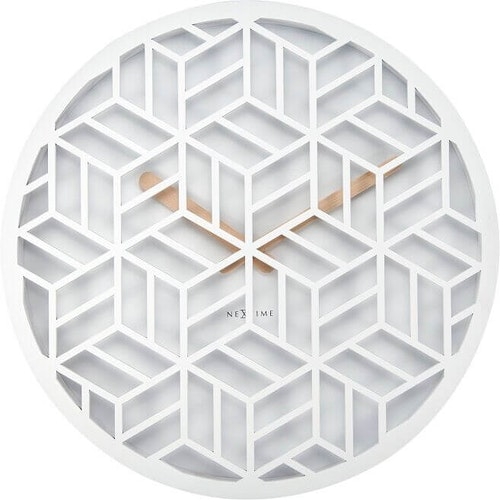 NEXTIME - Discrete Väggklocka - Vit/Svart, 36 cm