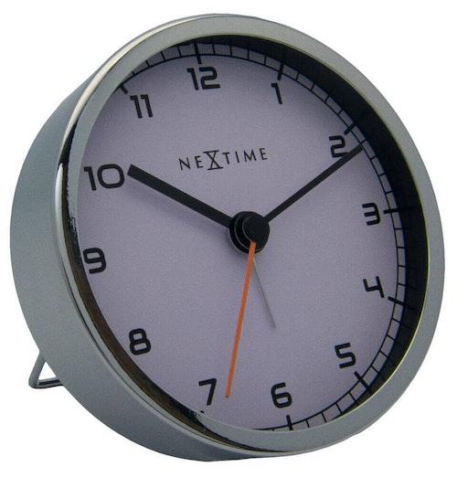 NEXTIME - Company Alarmklocka - Vit/Svart, 9 cm