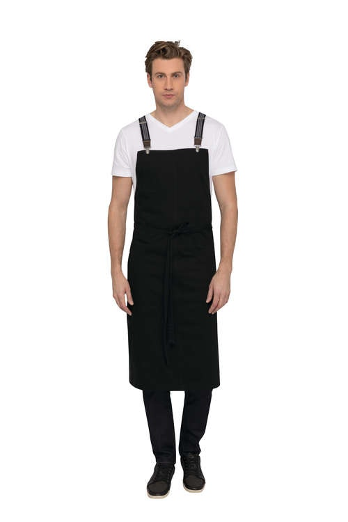 CHEF WORKS - BERKELEY Chef BiB Förkläde - Svartgrå/Jeansröd