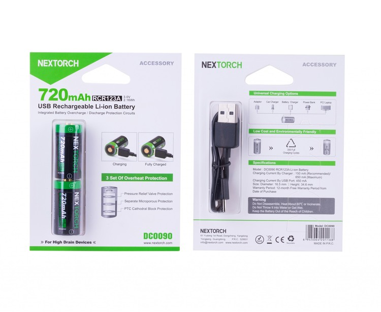 Nextorch laddningsbart batteri CR123A två-pack