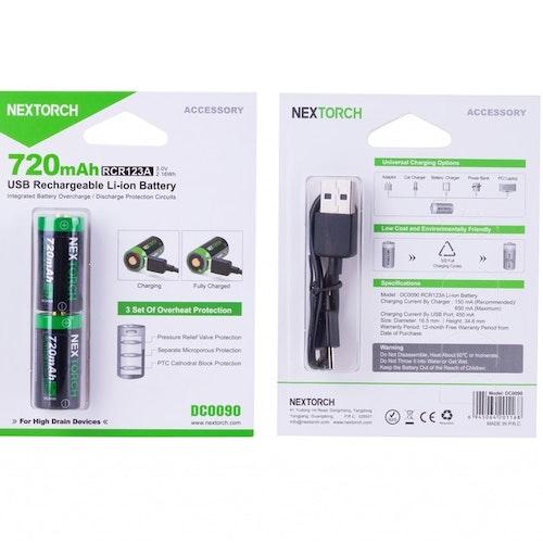 Nextorch laddningsbart batteri CR123A två-pack