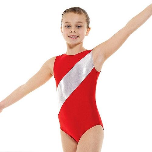 Röd & Silver gymnastikdräkt