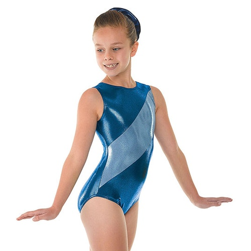 Shine Diagonal Panel, Paradise Blue gymnastikdräkt