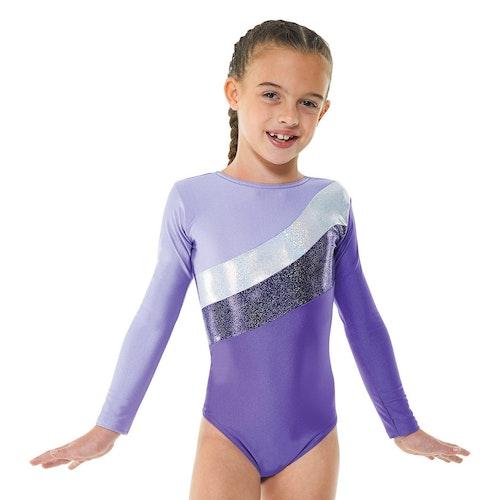 Cosmic Stripe Longsleeve gymnastiksdräkt, Purple