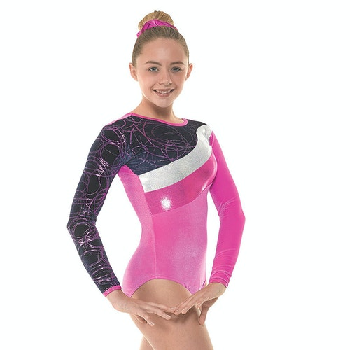 Velvet & Foil Longsleeve Gymnastikdräkt - Pink