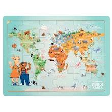Lollo & Bernie, Pussel Världskarta, 24 bitar, 3-6år