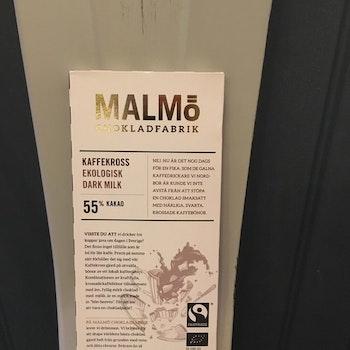 Malmö Choklad Kaffekross 55% Kakao Ekologisk PASSA PÅ 42KR KORT DATUM