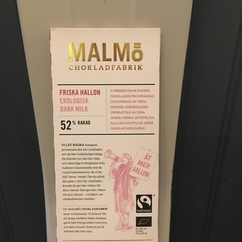 Malmö Choklad Friska Hallon 52% Kakao Ekologisk