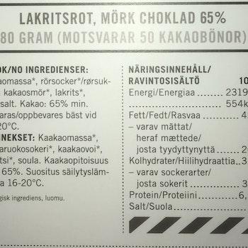 Malmö Choklad Lakritsrot 65% Kakao Ekologisk