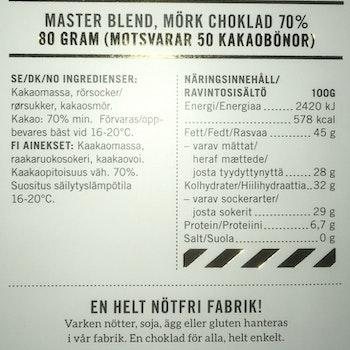 Malmö Choklad Master Blend 70% Kakao