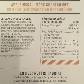 Malmö Choklad Apelsinskal 65% Kakao Ekologisk