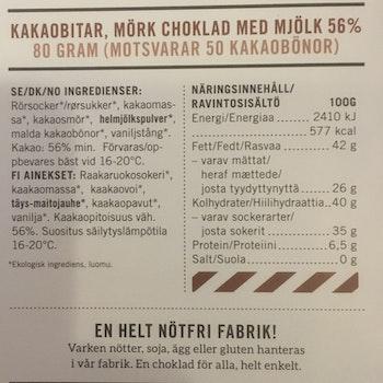 Malmö Choklad Kakaobitar 56% Kakao Ekologisk