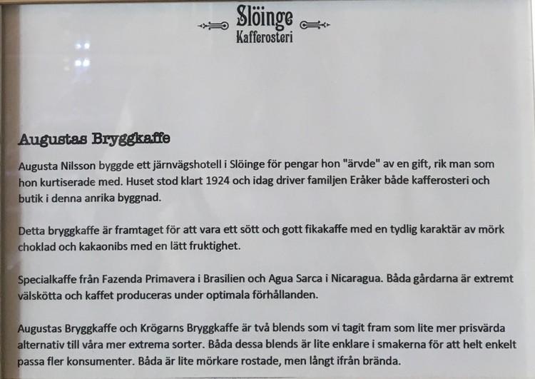 Slöinge kafferosteri Augustas bryggkaffe100g