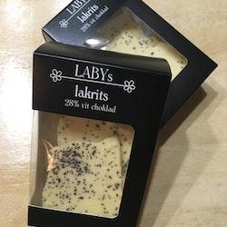 LABYs Vit Chokladbräck med Lakrits i 28% vit choklad