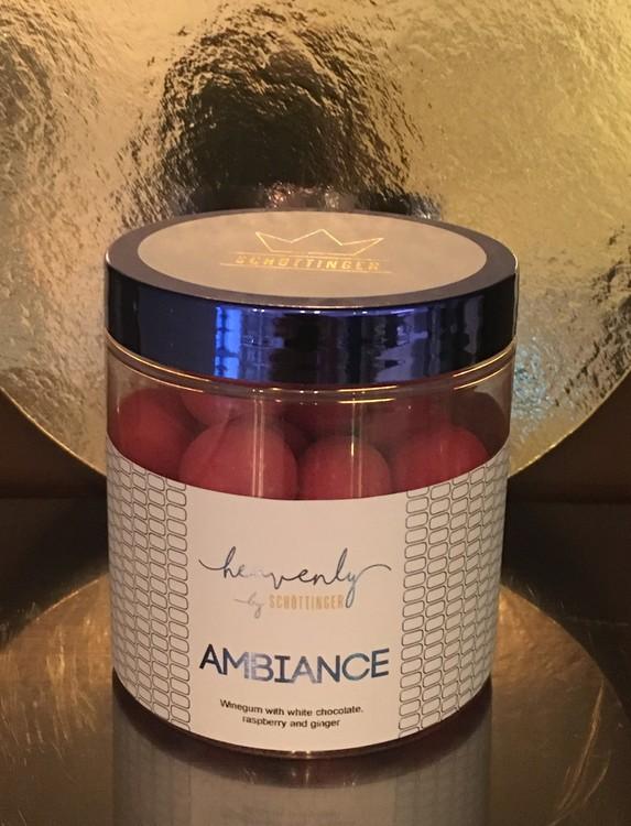 AMBIANCE Vingummi med vit choklad, hallon & ingefära.