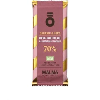 Malmö Choklad: 70% kakaohalt Lingon