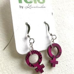 Örhängen feminist - små, rosa