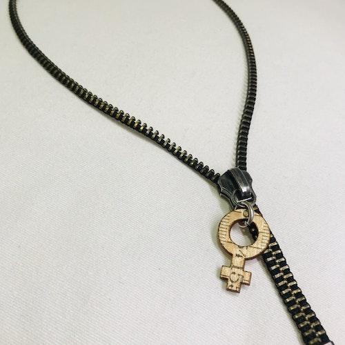 Halsband dragkedja-feminist